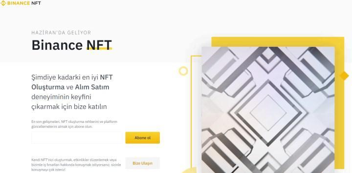 Kripto para borsası Binance kendi NFT platformunu açacağını duyurdu