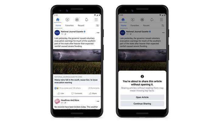 Facebook, 'paylaşmadan önce oku' özelliğini test ediyor
