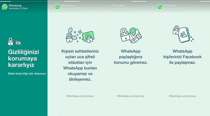 WhatsApp paylaşılan veriler