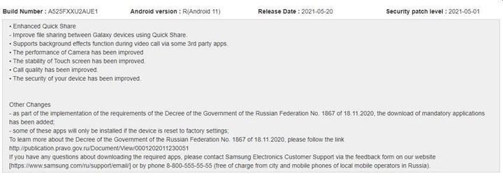Samsung A52 Güncelleme