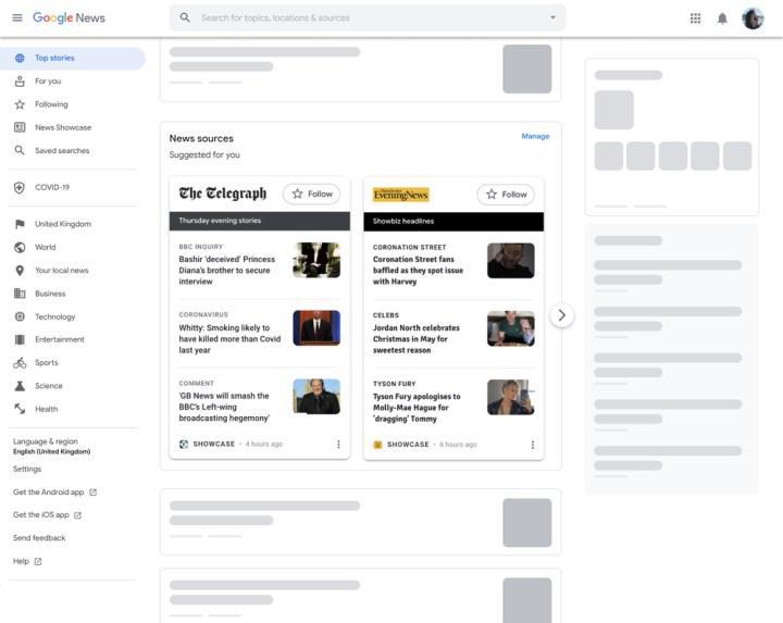Google News Showcase, artık masaüstünde