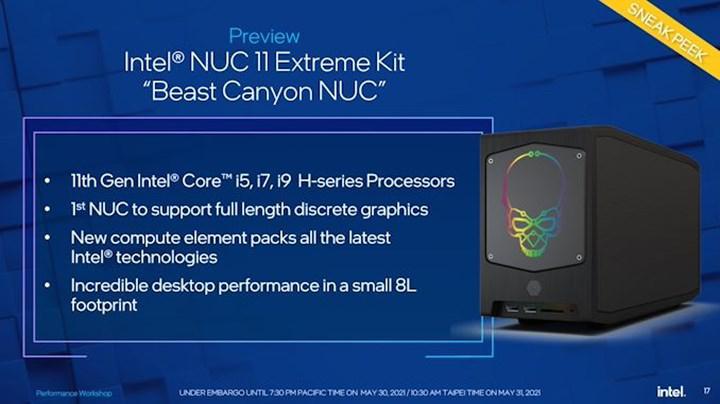 Intel Beast Canyon NUC gövde gösterisi yapıyor