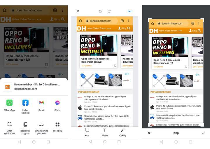 Android için Chrome tarayıcısına ekran görüntüsü aracı eklendi