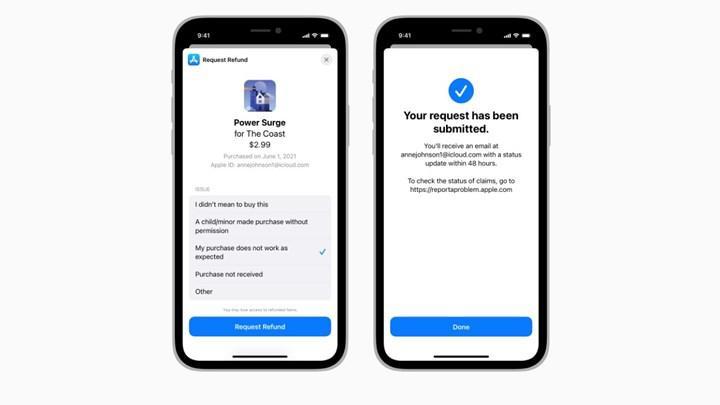 Geliştiriciler, iOS 15 ile birlikte para iadeleri üzerinde daha fazla kontrole sahip olacak