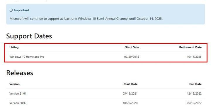 Windows 10 desteğinin bitiş tarihi belli oldu