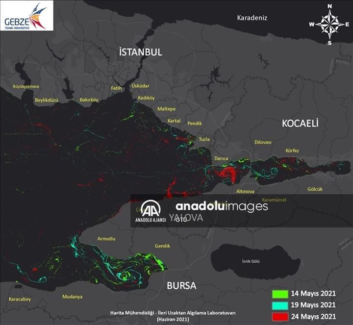 Marmara Denizi'ndeki müsilajın yoğunluk haritası oluşturuldu