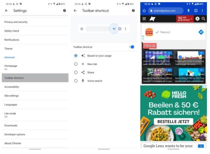 Chrome tarayıcısının Android sürümüne özel bir düğme eklendi