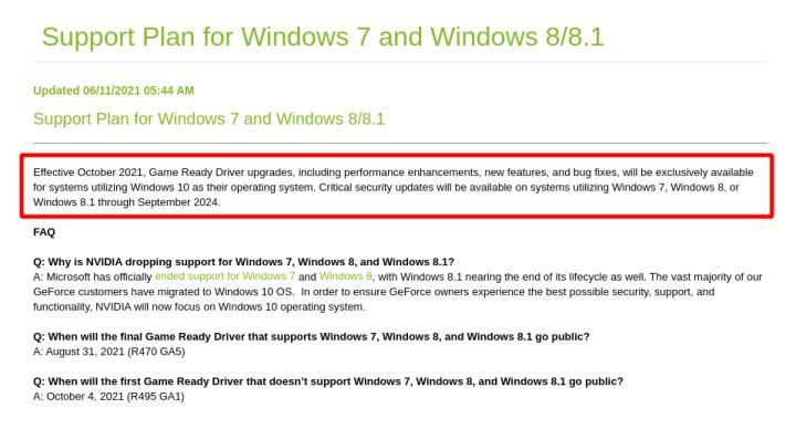 Nvidia, Windows 7, 8 ve 8.1 için sürücü yayınlamayı sonlandırıyor