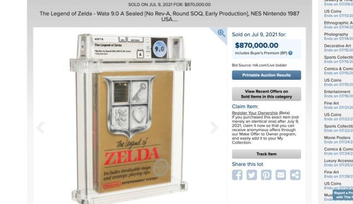 The Legend of Zelda, neredeyse 1 milyon dolara satıldı