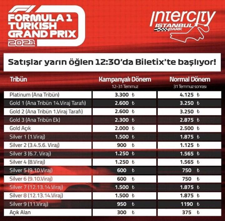F1 İstanbul bilet fiyatları