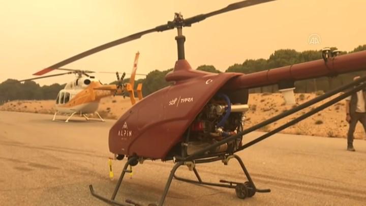 İnsansız helikopter, Manavgat yangını takibi için kullanılıyor