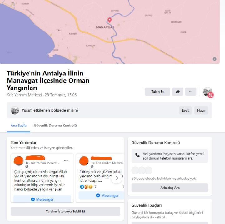 Facebook, Manavgat'taki yangınlar için kriz sayfası oluşturdu