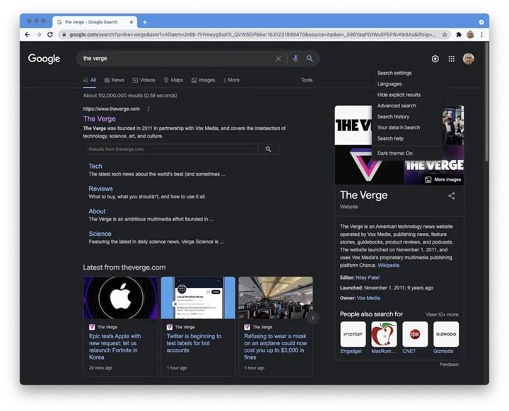 Google Arama masaüstünde karanlık mod seçeneği başlatılıyor