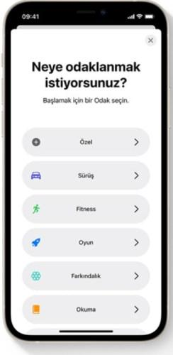 iOS 15 Odak Modu özelliği