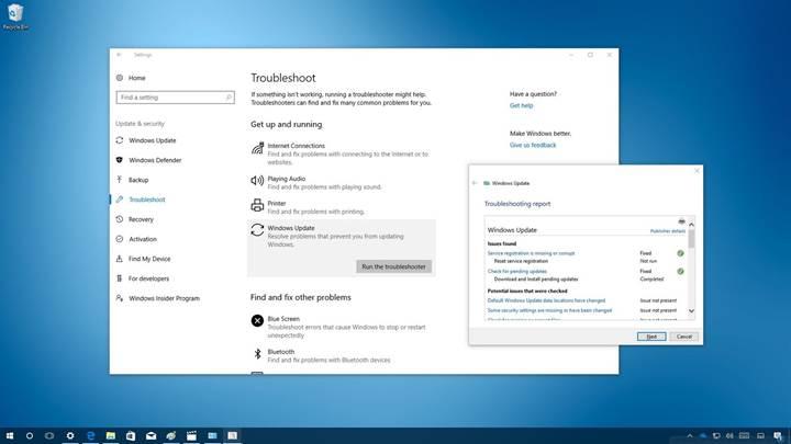 Windows 10 sorunları kendisi tespit edip düzeltecek