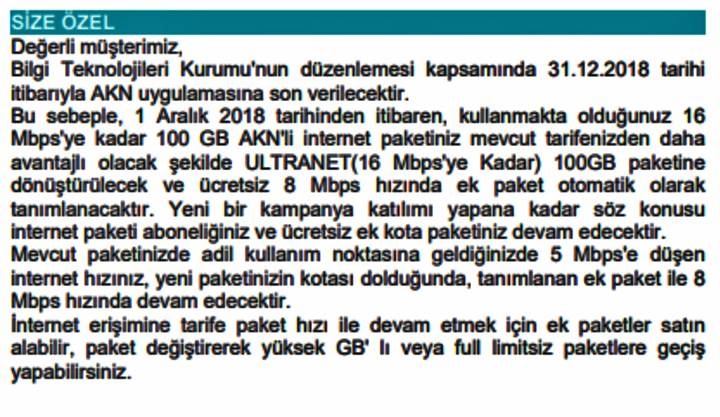 Türk Telekom, AKK yerine kota ve ek paket uygulamasına gitti [Güncellendi]