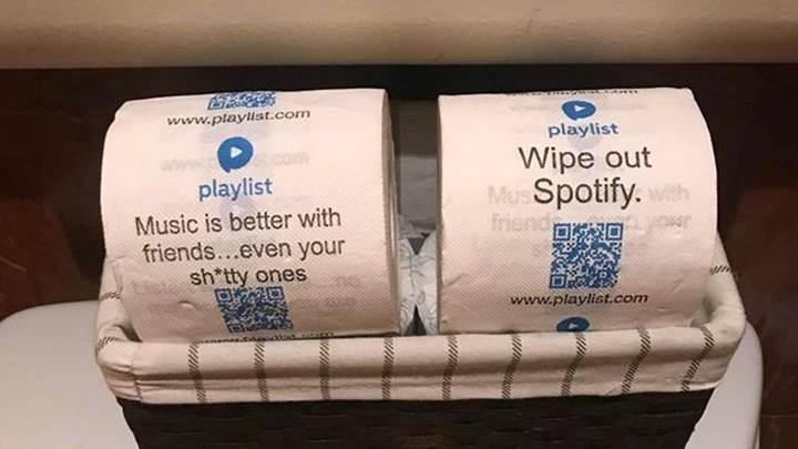 Playlist uygulamasından tuvalet odaklı ilginç tanıtım