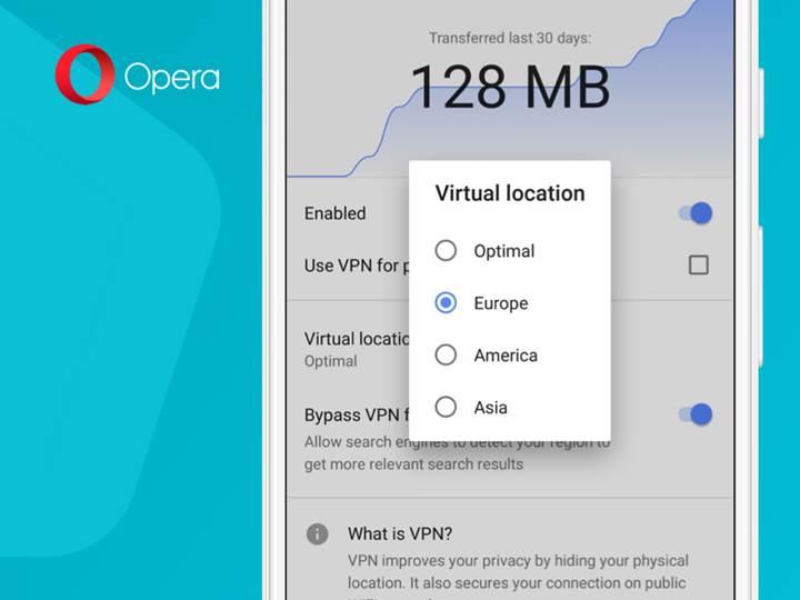 Opera tarayıcısının Android uygulamasına dahili VPN özelliği geldi