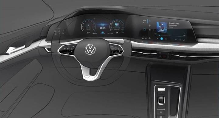 2020 Volkswagen Golf'ün kokpitinden ilk resmi görüntü geldi
