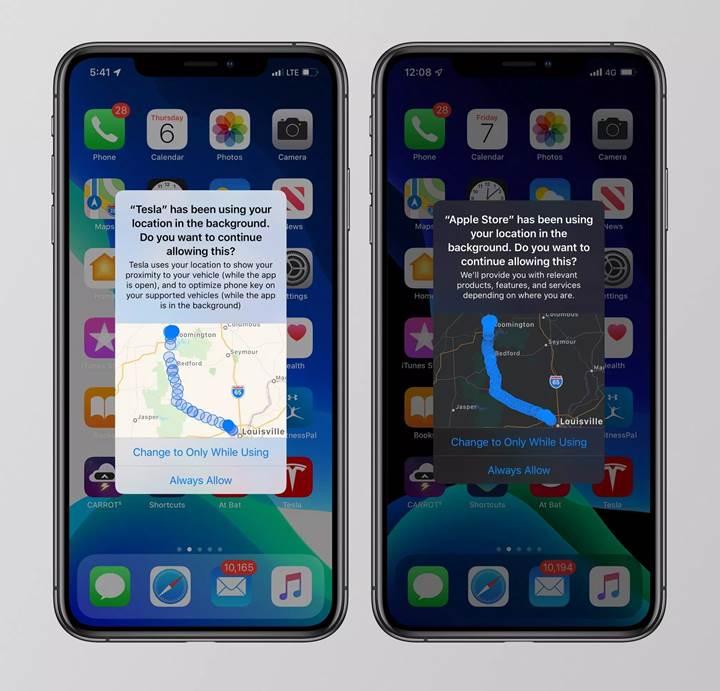 iOS 13, uygulamaların sizi takip ettiği yerleri haritada gösteriyor