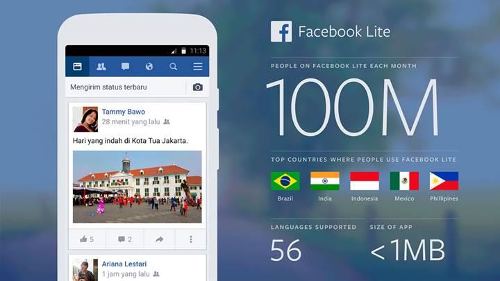 Facebook Lite 100 milyon kullanıcı sayısına ulaştı
