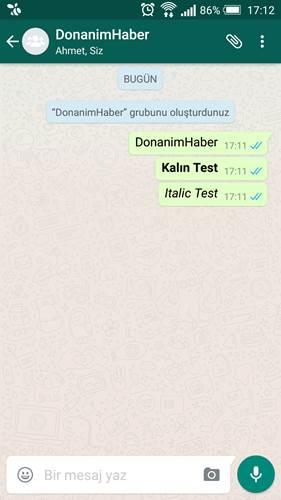 WhatsApp mesajlara kalın ve yatık yazma desteği getiriyor