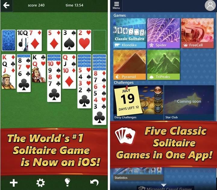 Microsoft Solitaire mobil platformlarda