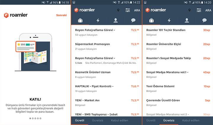 Roamler mobil uygulamasıyla görevleri yerine getirerek para kazanabilirsiniz
