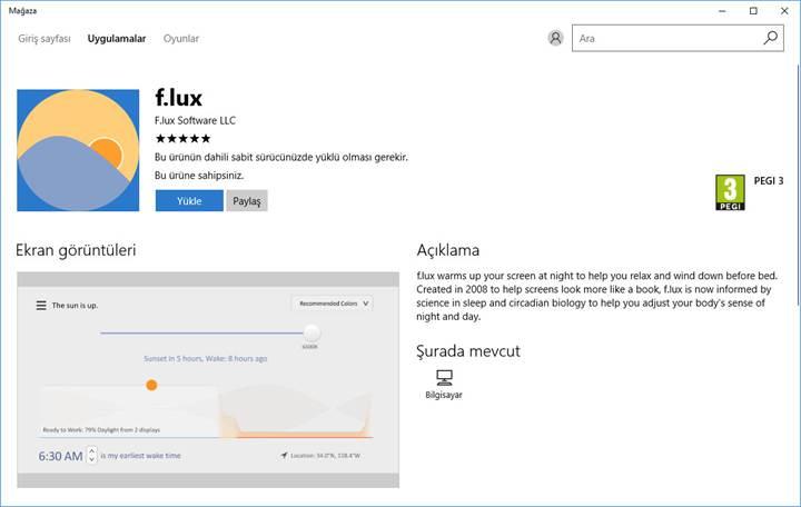 Mavi ışık filtresi f.lux Windows Mağazası'na geldi