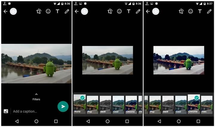 WhatsApp Beta'ya fotoğraf filtreleri geldi
