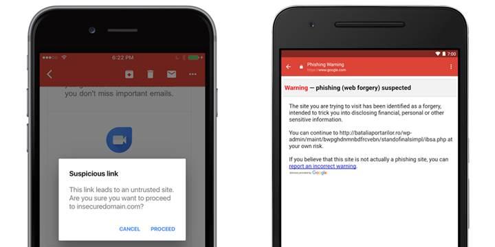Gmail'in kimlik avı koruması iOS'a geldi