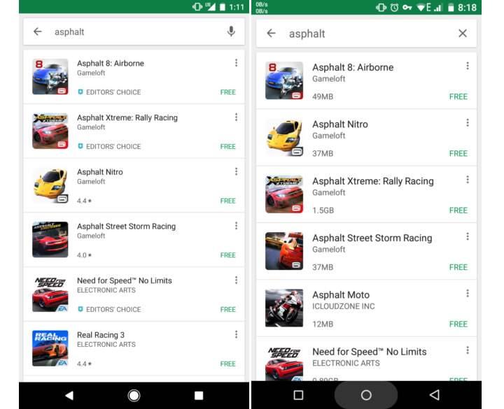 Play Store'daki uygulamalar bazı bölgelerde indirme boyutuyla listelenecek