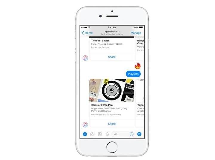Facebook Messenger'a Apple Music entegrasyonu geldi