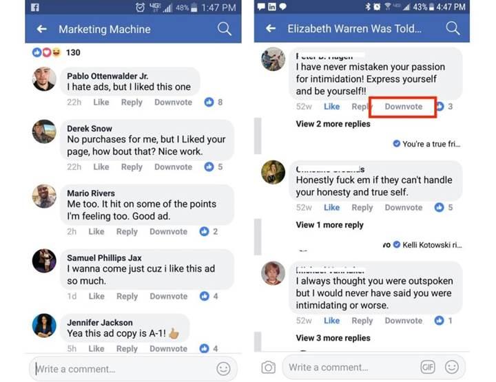 Sosyal dev Facebook downvote butonunu test ediyor