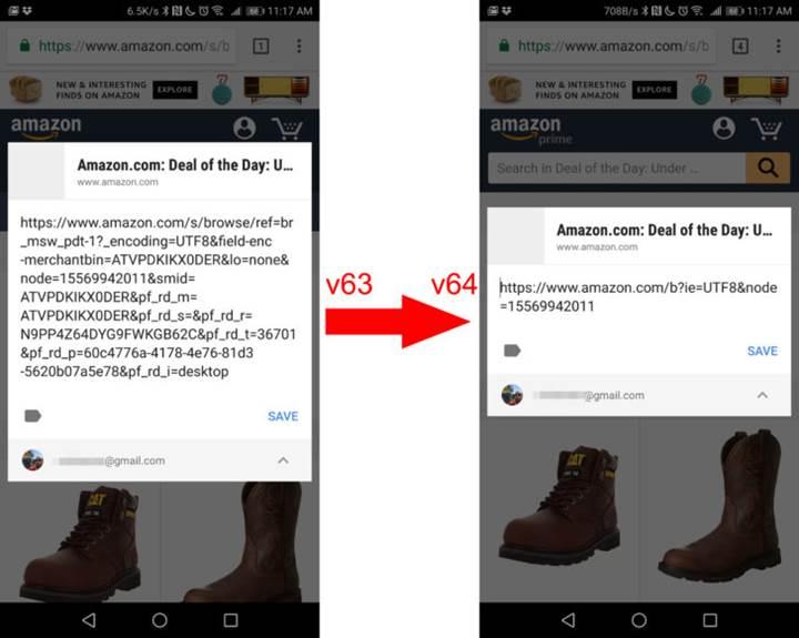 Chrome 64'ün Android sürümü artık URL paylaşırken gereksiz bölümleri temizliyor