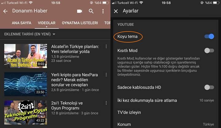 YouTube'un mobil uygulamasına nihayet koyu tema geldi