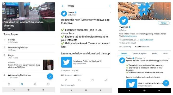Twitter, Android uygulamasının tasarımını değiştirmeye hazırlanıyor