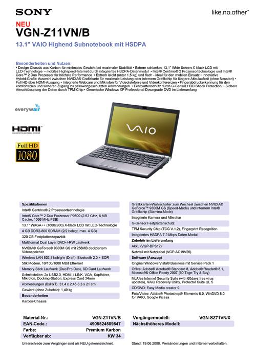Sony'nin Centrino 2 tabanlı VAIO Z modelleri detaylarıyla ortaya çıktı