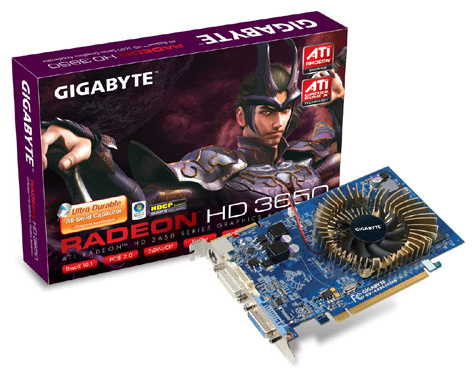 Gigabyte'dan katı kapasitörlü ve HD 3650 tabanlı yeni ekran kartı