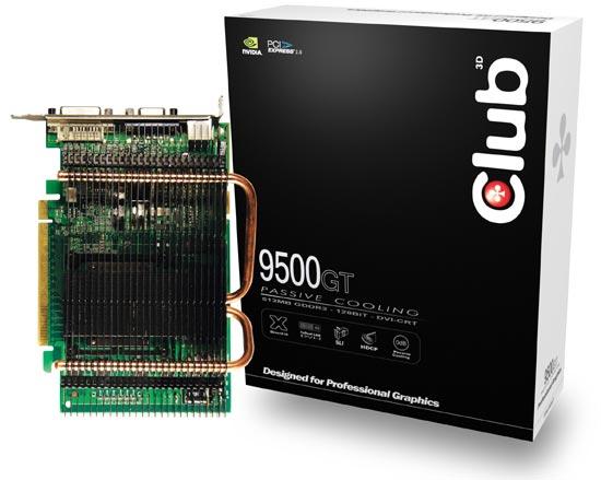 Club3D pasif soğutmalı GeForce 9500GT modellerini duyurdu