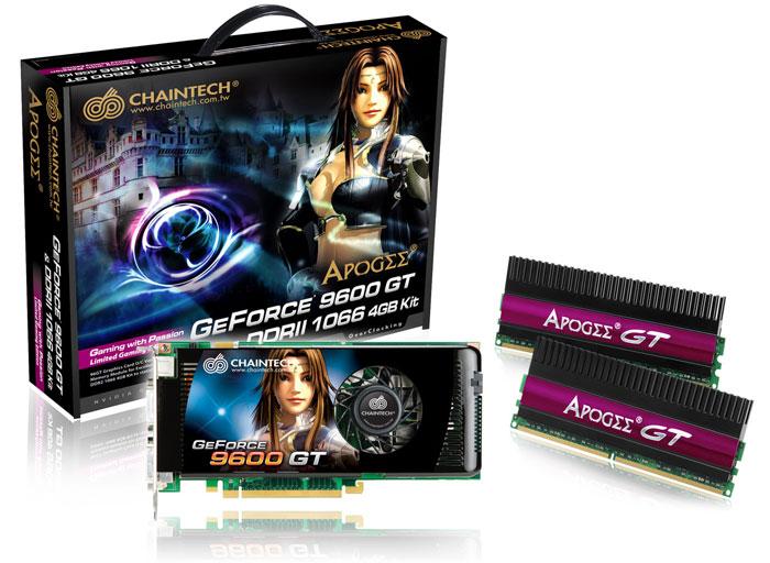 Chaintech GeForce 9600GT'nin yanında 4GB'lık 1066MHz DDR2 bellek kiti veriyor
