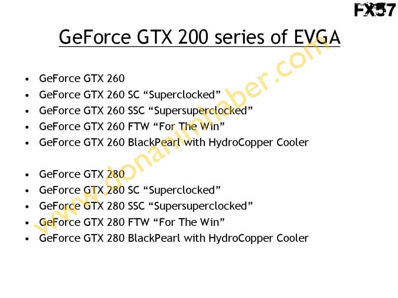 EVGA'nın GeForce GTX 200 serisi 10 modelden oluşuyor