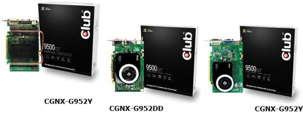 Club3D GeForce 9500GT tabanlı üç yeni modelini duyurdu
