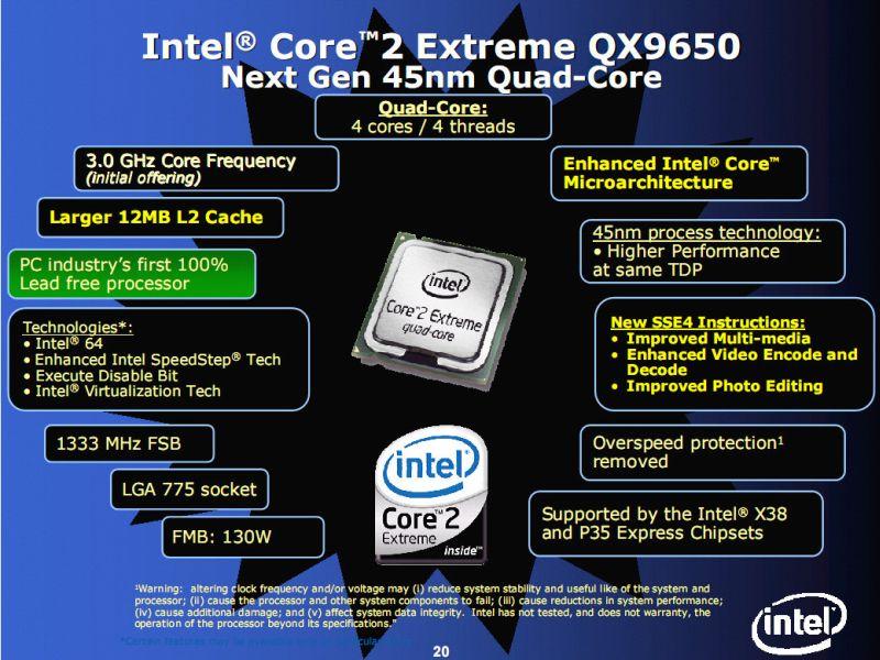 Intel Core 2 Quad 9650 kilitli çarpan ile geliyor