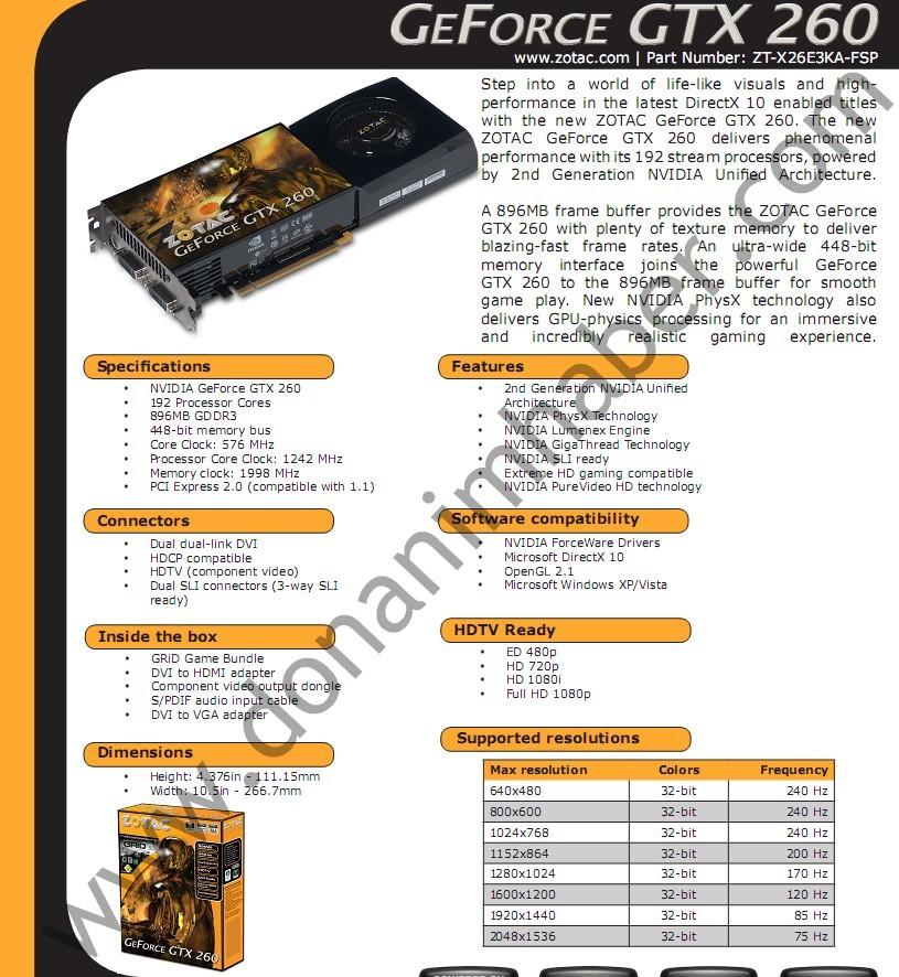 DH Özel: ZOTAC GeForce GTX 260 ortaya çıktı